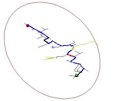 Showing the route generated by considering only the nearest two nodes to the destination at each iteration.